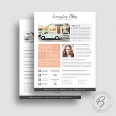 Media Kit Template 08   2 Page Media Kit Template   Ad Rate Sheet Template    Press Kit   Pitch Kit