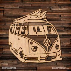 VW Surf Bus - wood hanging wall art