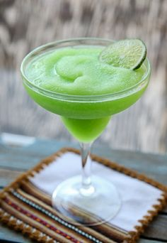 Lime Sherbet Margaritas--lime sherbet, tequila, powdered sugar, & triple sec!