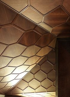 wood paneled ceiling complete with hexagonal pattern. Photographed by Ruy Teixeira for Minotti Architecture Awards, Architecture Details, Tile Patterns, Textures Patterns, Ceiling Treatments, Wall Finishes, Interior Exterior, Interior Design, Wood Paneling