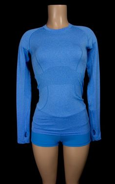 LULULEMON Run Swiftly Tech Long Sleeve 4 S Heathered Blue Run Top Yoga #Lululemon #ShirtsTops