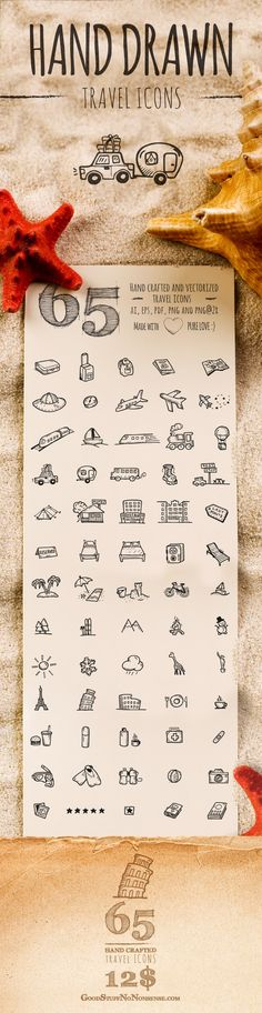 65 Hand Drawn Vector Icons all about traveling and vacations. You will find there such useful transportation icons like a …