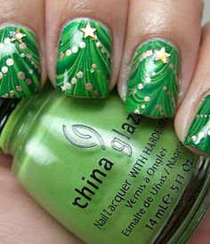 Awesome Christmas Trees | christmas tree nails we think these marbleized christmas trees by ...
