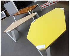 laminate tables with sheet metal legs