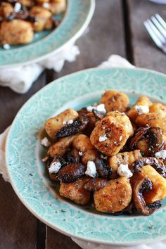 Crispy Brown Butter Sweet Potato Gnocchi with Balsamic Caramelized Mushrooms and Goat Cheese