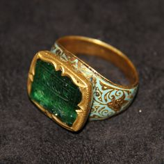 Jewelry | A Mughal Emerald Islamic Calligraphy Ring - The Curator's Eye