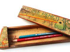 Vintage wooden pencil box #vintage #wood #pencils