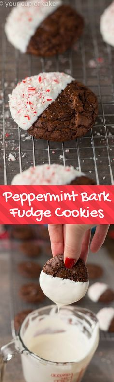 Peppermint Bark Fudge Cookies are dipping in white chocolate and sprinkled with crushed candy canes. Nothing says Christmas quite like these cookies.