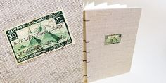 """Pyramids at Giza Egypt 1933 30 Mills Coptic Stitch Journal (5x7 inches)$38 (from """"Post-Marked"""" series)"""
