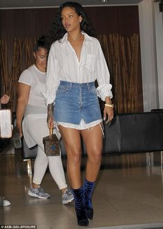 Star power: The 28-year-old singer highlighted her toned legs in short bottoms, adding a gold choker and watch
