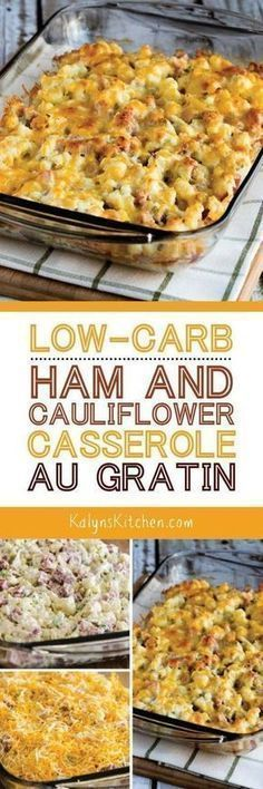 Low-Carb Ham And Cauliflower Casserole Au Gratin Is A Delicious Family-Friendly Low-Carb Dinner That's Also Keto, Low-Glycemic, Gluten-Free, And Can Be South Beach Diet Friendly Found On Pork Recipes, Paleo Recipes, Low Carb Recipes, Cooking Recipes, Chicken Recipes, Paleo Meals, Broccoli Recipes, Paleo Food, Side Dishes