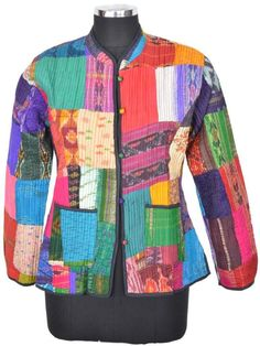 Vintage Silk Patchwork Short Jacket Quilted Handmade India ID-14970 #JaipurCreations #BasicJacket
