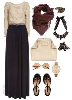 I love pairing maxi skirts with sweaters, and this color scheme is really wearable and works every season