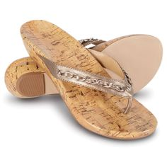 The Lady's Plantar Fasciitis Cork Wedge Sandals - Hammacher Schlemmer