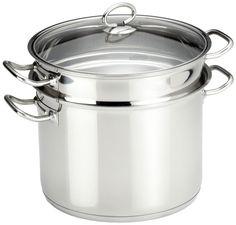 Een bijzonder fraaie pastapan met vergiet en pastalepel.Gemaakt van RVS in een zeer robuuste uitvoering.De pan is geschikt voor alle warmtebronnen en vaatwasmachine bestendig.Afmeting: Ø 24 cm, hoogte 27,5 cm.