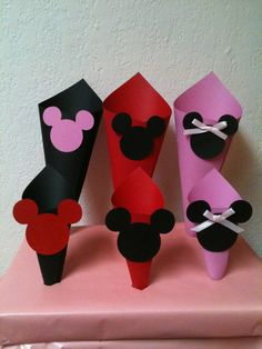 Mickey Minnie Mouse Candy Snack Paper Cones by AnnettesPartyFavors, $15.00 ..for the candy buffet!!