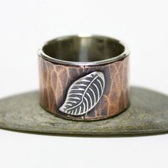 Falling Leaves Copper Band Ring Statement Ring Unisex by rosajuri
