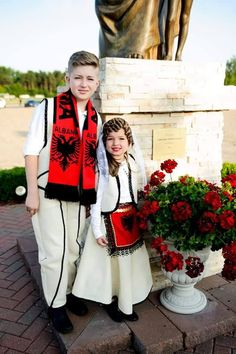 Albanian children in traditional costume.