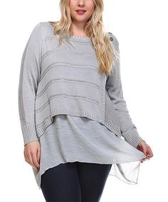 Another great find on #zulily! Gray Crochet-Panel Layered Scoop Neck Top - Plus #zulilyfinds
