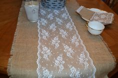 """Burlap and Lace Table Runners 96"""" by18"""" White 10"""" Wide Lace Beautiful Cottage Prairie Farmhouse"""