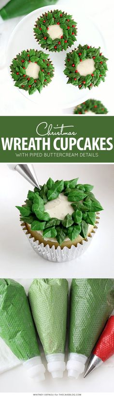 christmas cupcakes Christmas Wreath C - weihnachten Christmas Desserts Easy, Simple Christmas, Christmas Wreaths, Christmas Christmas, Christmas Cookies, New Year's Desserts, Cute Desserts, Holiday Baking, Christmas Baking