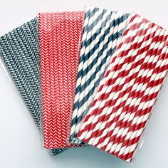 NAVY and RED Paper Straws 25 Count - Wedding, Baseball Decor, by ThePrettyPartyShoppe, $4.00