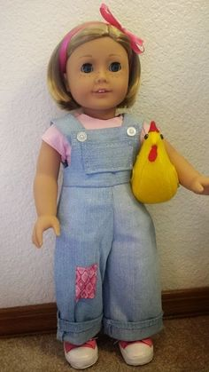 Make a hen for Kit!  A take on Kit's new overalls.