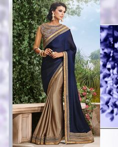 Beige and blue half and half sari with embroidered blouse   1. Beige and blue satin chiffon sari2. Comes with matching unstitched blouse material