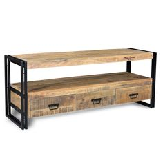 Timbergirl Hand-crafted Industrial Reclaimed Wood and Iron 3-drawer TV Console (India) (Reclaimed wood and iron 3Drawer T.V Console), Brown