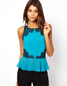 Asos Lipsy Chiffon Top with Lace