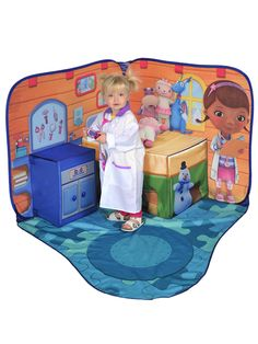Doc McStuffins Toy Hospital 3D Pop Up Playscape Tent - Kids Bedroom