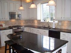 Kitchen black granite countertops oak cabinets painted white oak