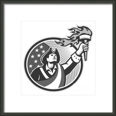 American Patriot Holding Torch Circle Grayscale Framed Print By Aloysius Patrimonio