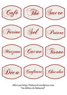 Étiquettes : café, thé, sucre, farine, sel, poivre, maïzena, cacao, tisane, déca, confiture, chocolat