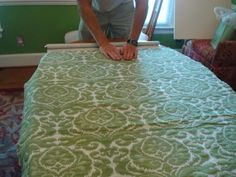 so easy...glue the fabric to a roller shade!!!!