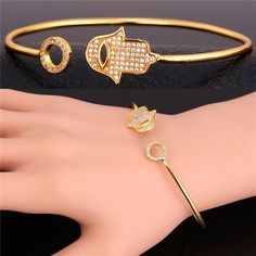 Hamsa Hand of Fatima Bracelet Bangle Lucky Jewelry Wholesale New Trendy Cuff Bracelet For Women