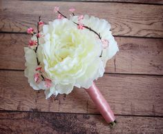 Ivory Peony Wedding Bouquet with Cherry Blossoms and Blush Satin by Kate Said Yes - www.katesaidyes.etsy.com