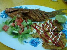 fried fish and tostones