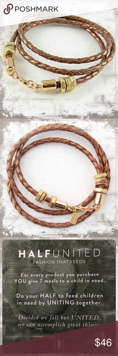 Buy this Boho bracelet and feed a child 7 meals! Great Boho honeycomb brown leather wrap bracelet!  HALF UNITED//fashion that feeds!  For every product you purchase you give 7 meals to a child in need.  Do your half to feed children in need by UNITING together!  Divided we fall but UNITED we can accomplish great things! Half United Jewelry Bracelets