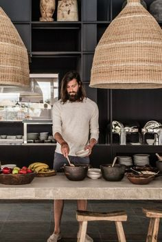 Dream Kitchen. Deep earth/natural tones. Contrast of cold and warm textures.  bohemian hotel design on greek island of Rhodes 32
