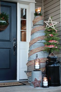 Galvanized Bucket Christmas Tree - along with a collection of other unique trees - cool post!