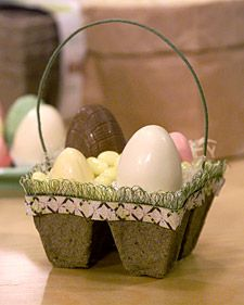 """peat pots into beribboned Easter """"baskets."""" The tiny connected cells, commonly used for starting seeds, are ideal for holding jelly beans and small chocolate eggs.  tvs5792.jpg"""