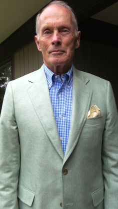 Andover Shop 2 button sack in a pale Summer Green silk. BB Gingham BD shirt, Royal Silk Herringboned pocket square.