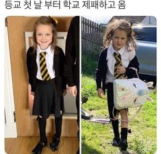 Before and after photos of a five-year-old girl on her first day of school have gone viral after showing her hilarious reaction to just one day of classes. Back To School Pictures, School Photos, First Day School, School Week, Funny School Memes, Funny Memes, School Looks, One Day, Popular Memes