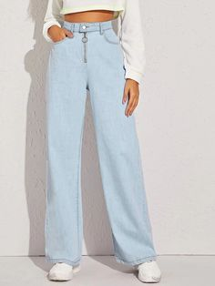 Shop Light Wash O-ring Zip Fly Straight Leg Jeans at ROMWE, discover more fashion styles online. Mom Jeans Outfit, Denim Outfit, Pastel Pants, Pants For Women, Clothes For Women, Type Of Pants, Denim Shop, Long Pants, Women's Pants