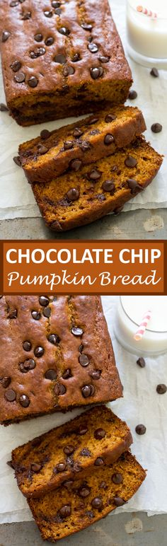 Chocolate Chip Pumpkin Bread. Super moist, soft and loaded with chocolate chips…