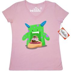 Inktastic Birthday Cake Monster Women's V-Neck T-Shirt Bday Cute Clothing Apparel Tees Adult, Size: Medium, Pink