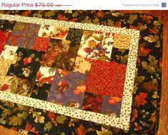 SALE Thanksgiving Quilted Fall Table Runner in by susiquilts