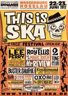 This Is Ska Festival in Germany! Great place to enjoy some good ol' SKA. Rock Posters, Band Posters, Concert Posters, Music Posters, Marcel, Ska Music, Punk Poster, Ska Punk, Music Flyer