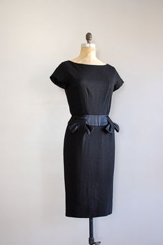 1950s black wool sheath dress